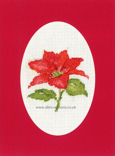 Sue Hill Christmas Poinsettia Greeting Card Red Cross Stitch Kit